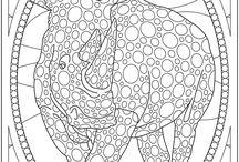 раскраски - слоны, носороги