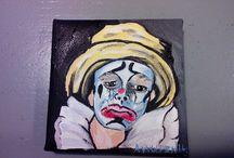 mini schilderijtjes clowns / Mini schilderijtjes 7.9 cm gemaakt door Annemieke van vulpen.