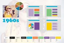 Timeless historical color themes / Color preferences changes over time. Each decade collects its own set of colors to express the emotions of the time. These colors can be translated to presentation color themes.