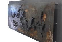 shabby chic wall art / Made from 2.5mm mild steel, part left to rist and then sealed with clear coat.