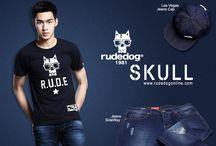 rudedog® SKULL / เสื้อยืด rudedog® รุ่น SKULL เทคนิคการสกรีนแตกลายงาแบบนุ่ม