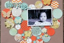 Paper Scraps / Scrapbook layouts and cards done with scraps of paper.