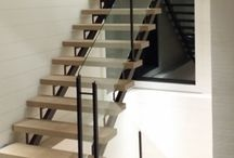 Steel Staircases by Babin Ironworks / Custom fabricated iron (steel) staircases with mono-stringers, dual stringers, closed and open stringers, and curved stairs by Babin Ironworks in North Bay, Ontario.