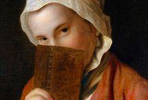 Boeken lezen in de 18e eeuw / Op schilderijen uit de 18e eeuw staan dikwijls mensen afgebeeld met een boek in de hand. Soms zitten ze aandachtig te lezen, andere keren kijken ze verwonderd op. Alsof ze de kijker willen zeggen: 'Merkwaardig!'