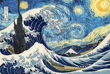 La vague hokusai la nuit etoilée