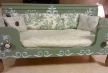 Pet Beds- by Junk Chic-designs H. McBride / Here is the ever building file of pic's from my 100% up-cycled pet beds made at my little home business called -Junk Chic- where old is cool and recycling and re- using is the way to go-https://www.facebook.com/JunkChic75