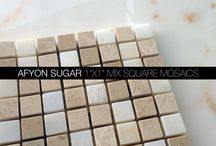 Afyon Sugar Marble Tile, Mosaic, Moulding and Border Collection