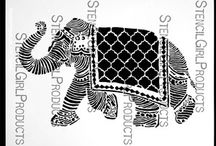 Projects with my N*Studio Elephant March Signature Stencil / by Nathalie Kalbach