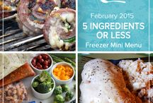 5 Ingredient or Less Mini Menu February 2015 / Even with just a handful of ingredients you can still enjoy delicious dinners even on the busiest nights of the week. This 5 Ingredients Or Less Mini February 2015 Menu brings together some quick and easy meals for refilling your freezer in no time. / by Once A Month Meals
