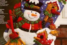 Botas de navidad y casa