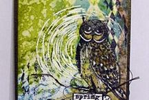 Owls / Great artwork using the wonderful stamps of the Art Journey stamp sheet Owls. Stamps can be bought online at www.artjourney.nl