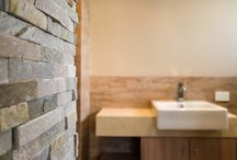 Timber Tiled Bathroom Renovation in Perth / The use of Stone and Timber in this Bathroom gives it a natural class that is absolutely unique