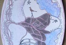 ceramica, poemas en platos / Platos ilustrados con poemas.