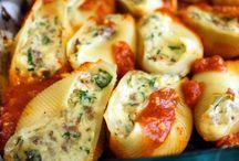 Stiffed shells of spaghetti.