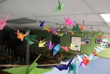 If you could fly like a bird, where would you go? / This was a month-long project of making origami birds with the answers to the above question written on their wings. These birds are now hung as an art installation in the Our Daily Bread dining room. With this project Our Daily Bread hopes to bring joy and fun to their guests and to harness some creativity and hope. Some popular answers were Florida, South, Anywhere warm, and Our Daily Bread!