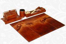 Ručne maľovaný kožený kancelársky set / Ručne maľovaný kožený kancelársky set