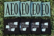 Alpha Epsilon Phi Cornhole, Giant Jenga and Outdoor Sorority Games / Buy Alpha Epsilon Phi Cornhole Boards and Corn Hole Bag Sets, Alpha Epsilon Phi Giant Jenga Tumble Tower Game and other great Sorority Gear for outdoor fun!