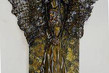 Anjeli v obrazoch a iné / Plastické obrazy - vytvorené technikou podobnou paverpolu.