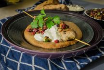 Zataar chicken with pomegranate, pistachio and spelt flatbreadand