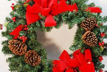 Holiday Wreaths and Poinsettias