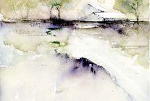 akvarel příroda