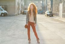 redHaired woman on the street