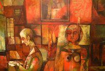 """Exhibiton """"ALEXANDER GUREVICH"""" / Os trabalhos do artista de israelita  Alexander Gurevich surpreendem pelo ambiente surreal. Somos transportados para o passado, um passado repleto de ficções, misterioso, sensual.  O artista cria uma nova realidade, cria um universo paralelo, com características próprias, os acontecimentos, personagens e objectos não tem qualquer ligação com o mundo contemporâneo (José Roberto Moreira - Curador e Galerista)."""