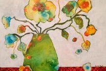 Abstrakter blomster / Abstrakte blomster malt av Laila Constanse Rygh