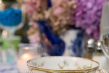 Blue Bridal shower / courtyard setting. delicate table decor
