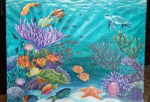 Undervands maleri væg