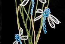 Dragonflies, butterflies and flowers