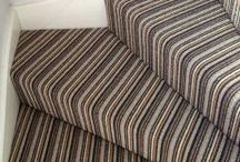Striped carpet for stairs