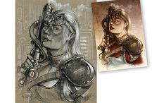 sketches on toned paper