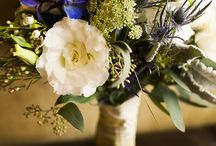 Carithers Wildflower Wedding  / Wildflowers designed in loose airy design. Eryngium, spray roses, delphinium, lisianthus, queen anns lace and other garden varieties.