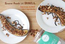 Banana Assada com Granola (sobremesa saudável com 2 ingredientes) / Sobremesa deliciosa, muito saudável e muito fácil de fazer. Granola disponível em http://justnaturalplease.wix.com/justgranola-shop