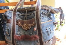 DIY: Bag denims/canvas / re-using denims or old painting on canvas