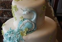 Teal Peacock Wedding Cake