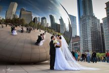 Wedding Photo Session Chicago / Wedding Photo sessions around Chicago. Everything including Millennium park, Adler Planetarium, Michigan Avenue, Hancock Tower
