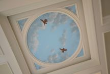 Sky Ceiling with Cardinals murals, hand-painted by Tom Taylor of Mural Art LLC / Sky Ceiling with Cardinals murals, hand-painted by Tom Taylor of Mural Art LLC. The artwork was painted for a sun room/garden room for a home in Charlottesville, Virginia.