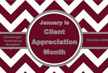 January is Client Appreciation Month / We want to show our appreciation for our clients. Come see us during the month of January and receive a free LVH cup. We will be having weekly contests, free coffee, doughnut day, and referral prizes.