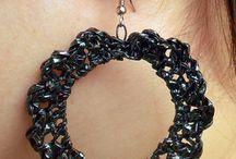 korvakorut / earrings / Hand made earrings, material videotape