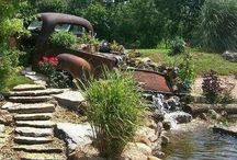 Old car water feature