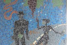 Contemporary Mosaics / In this 'Travellers in Time' series each piece captures a pivotal moment in time. The collection covers diverse territory, from the ephemeral joy and relaxation of a sunstruck traveller, to Adam and Eve - who provide us with a moment to reflect upon the nature of greed. The collection asks a busy modern world to take a moment to live in the moment.Mosaics are a wonderful way of storytelling. For commissions, contact jillycunningham@yahoo.co.uk