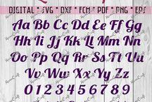 SVG DXF Fonts, Letters, Monograms