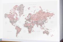 NEW ~ World map wall murals - large world map wall murals!