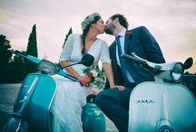 wedding with a Vespa! / some nice pictures when the wedding couples use a tipical Vespa