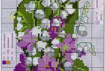 Fiori, alberi,piante a Punto Croce