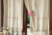 fabric curtains with crochet