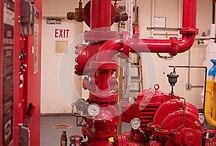 Fire Protection Hardware / Photos of various components of fire protection systems - from FDC, through the pipes, and out the other end