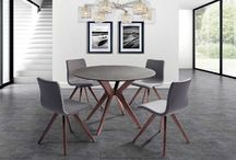 Modern Stone Glass Walnut Grey Dining Collection